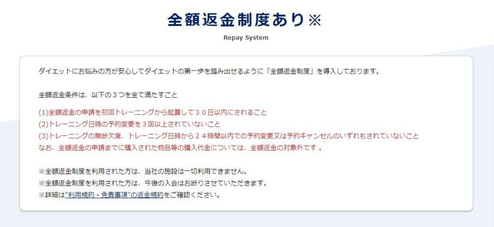 24/7ワークアウトの公式サイトの返金保証制度